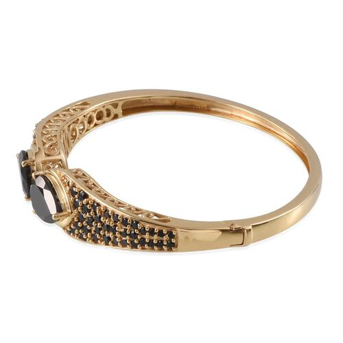 Boi Ploi Black Spinel (Pear) Bangle (Size 7.5) in 14K Gold Overlay Sterling Silver 15.000 Ct.