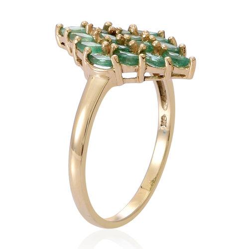 9K Y Gold Kagem Zambian Emerald (Mrq) Cluster Ring 1.500 Ct.
