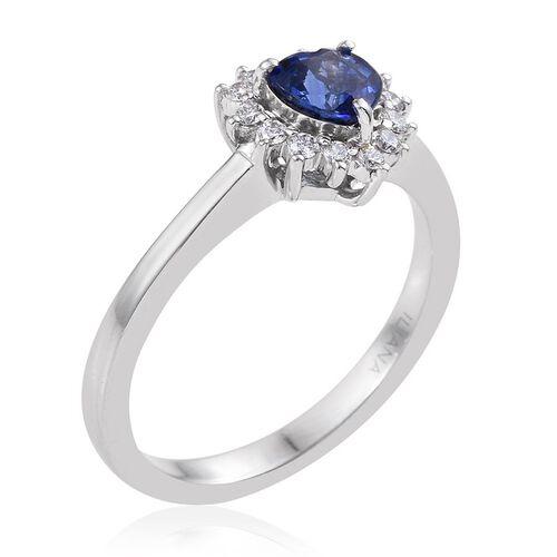 ILIANA 18K White Gold 1 Carat AAA Blue Sapphire Heart, Diamond Ring.