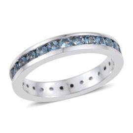 RHAPSODY 950 Platinum 1.25 Carat AAAA Santa Maria Aquamarine Full Eternity Band Ring Channel Set.
