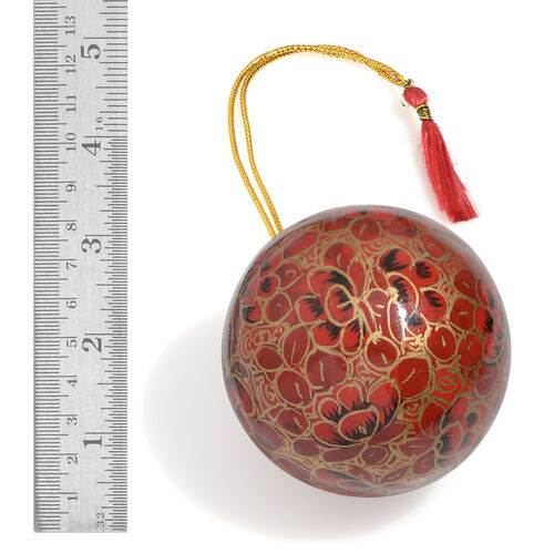 (Option 2) Home Decor - Set of 3 - Red and Multi Colour Wall Hanging Christmas Balls