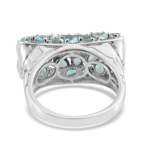 Paraibe Apatite (Ovl) Ring in Platinum Overlay Sterling Silver 3.750 Ct.