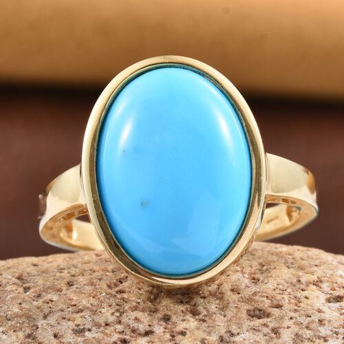 Arizona Sleeping Beauty Turquoise (Ovl) Solitaire Ring in 14K Gold Overlay Sterling Silver 8.750 Ct.