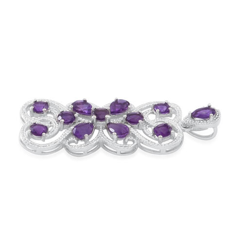 Amethyst (Rnd) Pendant in Rhodium Plated Sterling Silver 5.000 Ct.