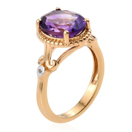 Uruguay Amethyst (Ovl 3.20 Ct), Diamond Ring in 14K Gold Overlay Sterling Silver 3.250 Ct.