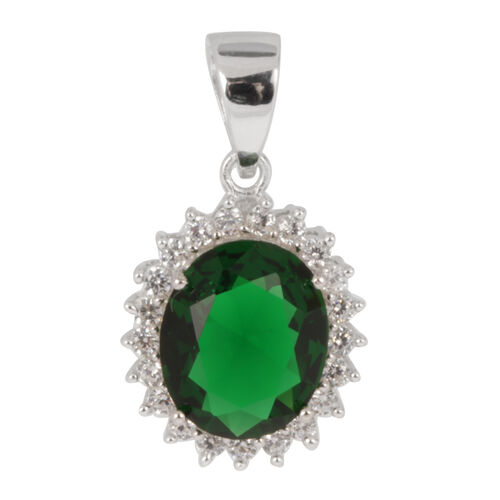 AAA Simulated Emerald (Ovl), Simulated Diamond Pendant in Rhodium Plated Sterling Silver