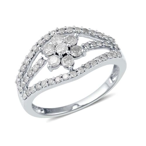 9K White Gold SGL Certified Diamond (Rnd) (I3/G-H) Floral Ring 1.000 Ct.