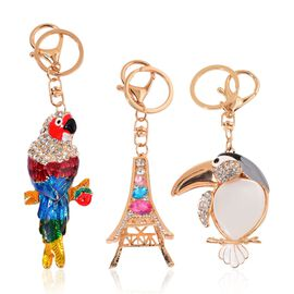 Set of 3 - Simulated White Cats Eye, White and Black Austrian Parrot, Toucan Bird and Eiffel Tower Design Key Chains in Yellow Gold Tone