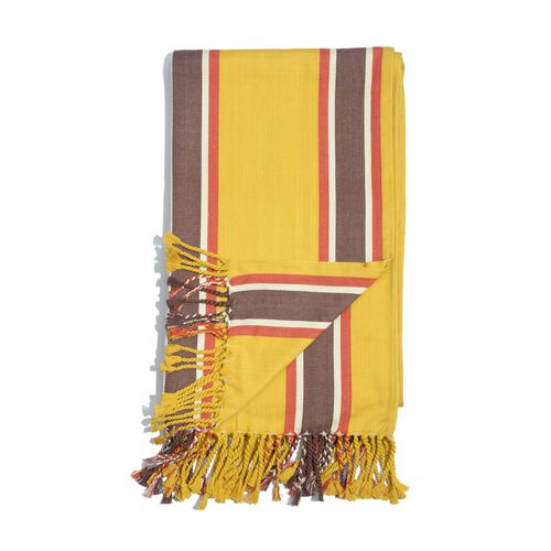 100% Cotton Red, Chocolate and White Colour Stripe Pattern Yellow Colour Throw with Fringes (Size 240x150 Cm)