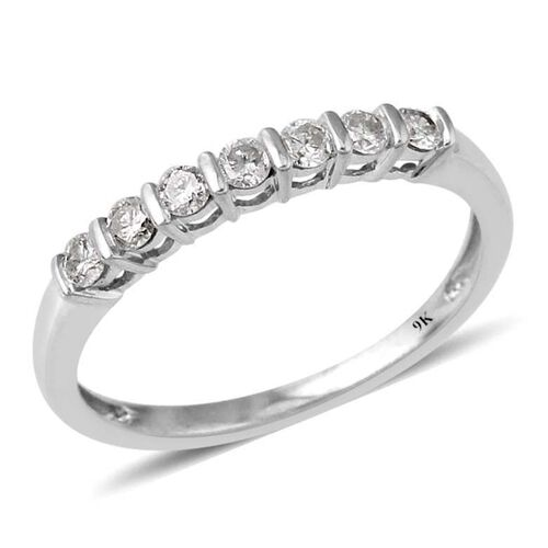 9K White Gold SGL Certified Diamond (Rnd) (I3/G-H) 7 Stone Ring 0.330 Ct.