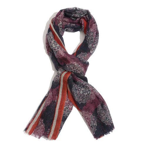 Designer Inspired 100% Wool  Aubergine and Red Colour Hand Block Printed Scarf (Size 180x75 Cm)