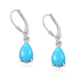 Arizona Sleeping Beauty Turquoise (Pear) Lever Back Earrings in Platinum Overlay Sterling Silver 2.250 Ct.
