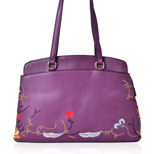 Floral Embroidered Burgundy Colour Tote Bag (Size 35.5x24x11.5 Cm) with External Zipper Pocket