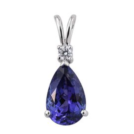 ILIANA 18K W Gold AAA Tanzanite (Pear), Diamond Pendant 3.500 Ct.