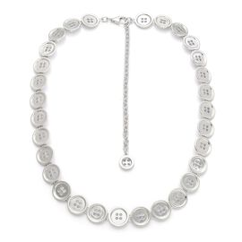 LucyQ Button Necklace (Size 16 with 4 inch Extender) in Rhodium Plated Sterling Silver 47.27 Gms.