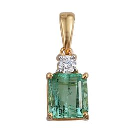 ILIANA 18K Y Gold Boyaca Colombian Emerald (Oct 1.50 Ct), Diamond (SI/G-H) Pendant 1.600 Ct.