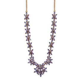 Tanzanite (Mrq) Necklace (Size 18) in 14K Gold Overlay Sterling Silver 15.000 Ct.