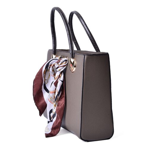 Grey Colour Large Tote Bag with External Zipper Pocket, Small Clutch and Multi Colour Scarf (Size 35x28x12 Cm, 27x13.5 Cm and 51x47 Cm)