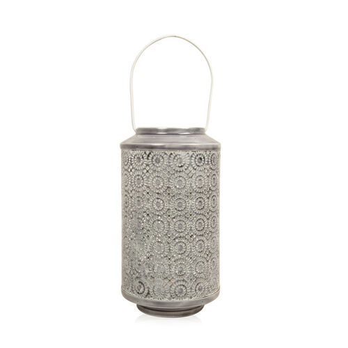 Home Decor - Grey Colour Laser Cut Floral Pattern Lantern with LED T Light