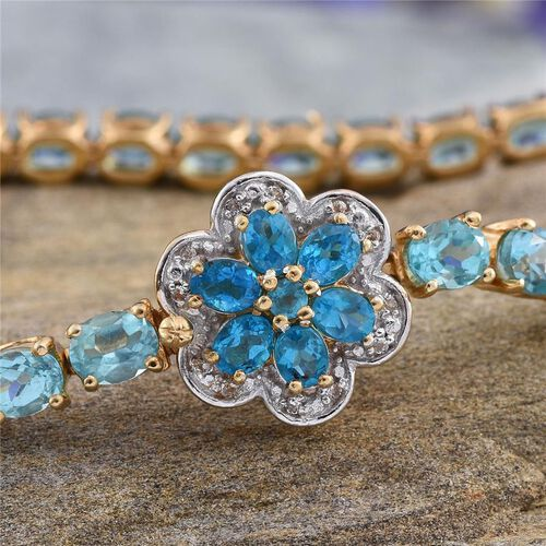 Paraibe Apatite (Ovl), Malgache Neon Apatite and White Topaz Floral Bracelet (Size 7) in 14K Gold Overlay Sterling Silver 13.250 Ct.