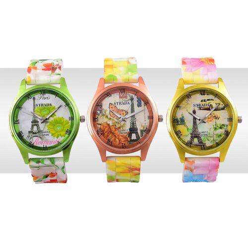 Set of 3 - STRADA Japanese Movement Yellow, Orange, Green and Multi Colour Eiffel Tower and Floral Pattern Watch in Silver Tone with Stainless Steel Back