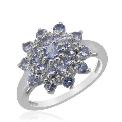 Tanzanite (Rnd) Ring in Platinum Overlay Sterling Silver  1.250 Ct.