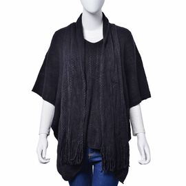 Set of 2 - Black Colour Poncho (Size 80x70 Cm) and Scarf (Size 145x13 Cm)