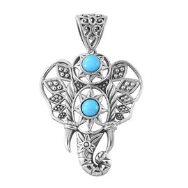 AA Arizona Sleeping Beauty Turquoise (Rnd) Elephant Head Pendant in Sterling Silver 1.610 Ct.