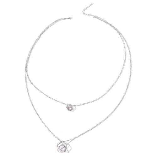 Simulated White Diamond Necklace (Size 26 with 2 inch Extender) in Silver Tone