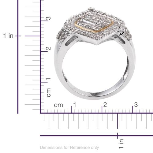 Diamond (Rnd) Ring in Platinum and Yellow Gold Overlay Sterling Silver 1.050 Ct.