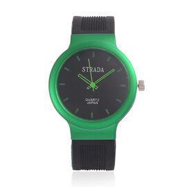 STRADA Japanese Movement Black Dial Water Resistant Watch in Silver Tone with Stainless Steel Back and Black and Green Silicone Strap