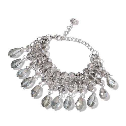 Simulated Grey Diamond Bracelet (Size 7 with 3 inch Extender) in Silver Tone