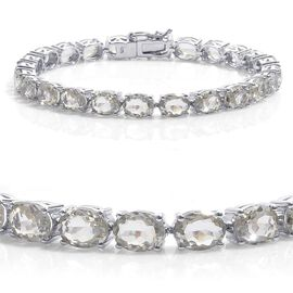 Green Sillimanite (Ovl) Tennis Bracelet in Platinum Overlay Sterling Silver (Size 8) 26.500 Ct.