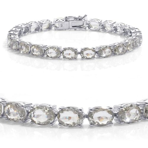 Green Sillimanite (Ovl) Tennis Bracelet in Platinum Overlay Sterling Silver (Size 8) 26.500 Ct.