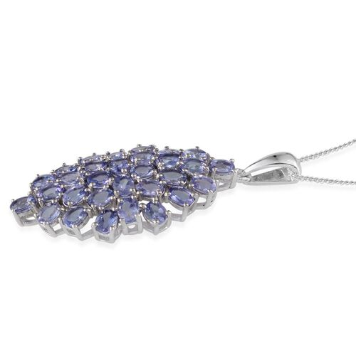 Tanzanite (Ovl) Cluster Pendant With Chain in Platinum Overlay Sterling Silver 4.500 Ct.