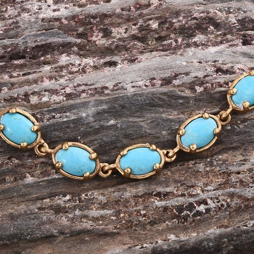 Arizona Sleeping Beauty Turquoise (Ovl) Bracelet (Size 7.5) in 14K Gold Overlay Sterling Silver 6.500 Ct.