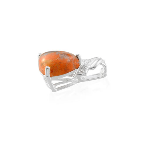 Bumble Bee Jasper (Trl 5.00 Ct), Diamond Pendant in Sterling Silver 5.005 Ct.