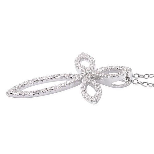 AAA Simulated White Diamond Pendant With Chain in Rhodium Plated  Sterling Silver