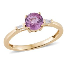 9K Yellow Gold 1 Carat AA Pink Sapphire Ring with Diamond (I3/G-H)