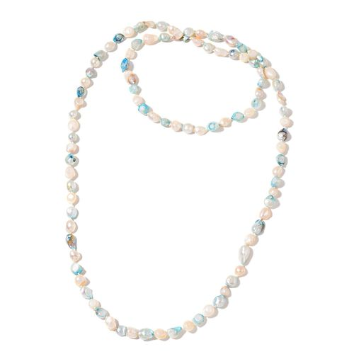 Fresh Water Blue and White Pearl Necklace (Size 46)