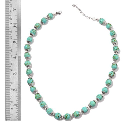 Green Howlite Necklace (Size 18 with 2 inch Extender) in Silver Tone 151.000 Ct.
