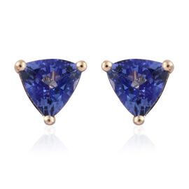 9K Yellow Gold 1.15 Carat AA Tanzanite Trillion Stud Earrings (with Push Back)