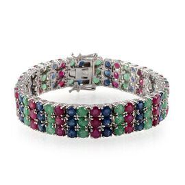 AAA African Ruby (Rnd), Kanchanaburi Blue Sapphire and Kagem Zambian Emerald Bracelet in Platinum Overlay Sterling Silver (Size 7) 35.000 Ct.