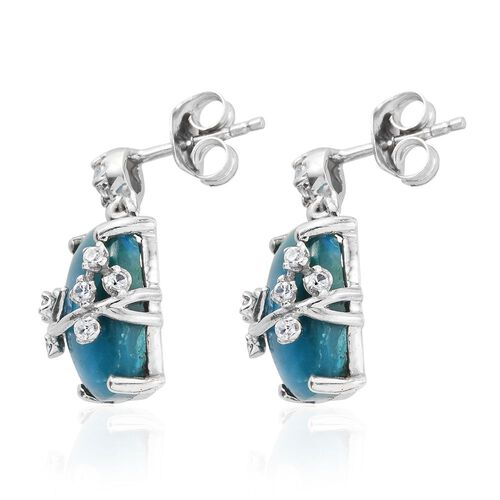 Natural Rare Opalina (Cush), Sky Blue Topaz and Natural Cambodian Zircon Earrings (with Push Back) in Platinum Overlay Sterling Silver 8.660 Ct.