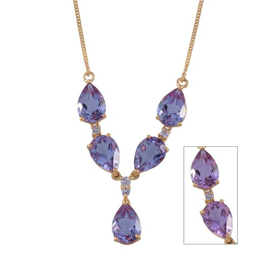 Lavender Alexite (Pear), Tanzanite Necklace (Size 18) in 14K Gold Overlay Sterling Silver 10.250 Ct.