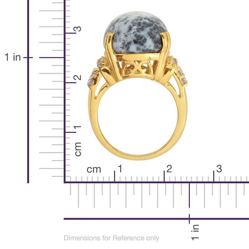 Dendritic Opal (Ovl 7.50 Ct), Tanzanite Ring in 14K Gold Overlay Sterling Silver 8.000 Ct.