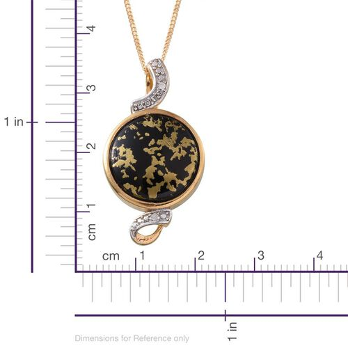 Goldenite (Rnd 6.25 Ct), Diamond Pendant With Chain in 14K Gold Overlay Sterling Silver 6.270 Ct.