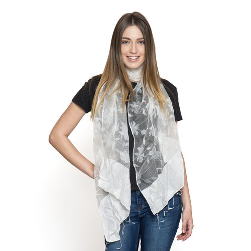 100% Mulberry Silk White Colour Scarf (Size 180x50 Cm)