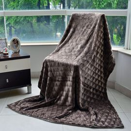 Superfine Microfibre Brushed Triangle Flannel Reverse Sherpa Blanket Chocolate (Size 130x200 Cm)