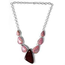 Jewels of India Argentinian Rhodochrosite, Red Jasper Necklace in Sterling Silver 180.000 Ct.